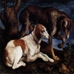 Jacopo Bassano (Jacopo da Ponte) (1510-1592)    Two Hounds  1548-49  Oil on canvas, 61 x 80 cm  Musee du Louvre, Paris